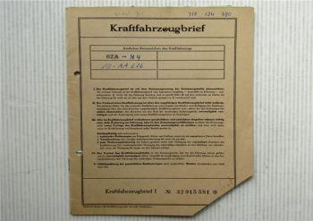 Kraftfahrzeugbrief VW Typ 3 VW 1600 Typ 31 Zulassung 1967 PKW Volkswagen