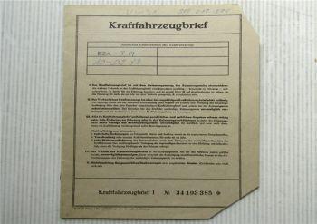 Kraftfahrzeugbrief VW Typ 3 VW 1600 Typ 31 Zulassung 11/1967 PKW Volkswagen