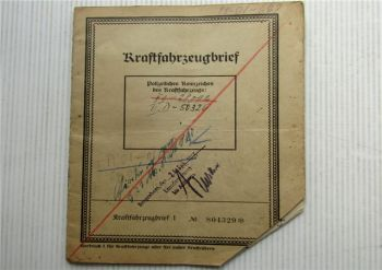 Kraftfahrzeugbrief Tempo D 400 Zulassung 1935 Vidal & Sohn Tempo Werk