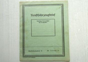 Kraftfahrzeugbrief NSU Quick Baujahr 1944 ohne Haltereintrag wohl Wehrmacht