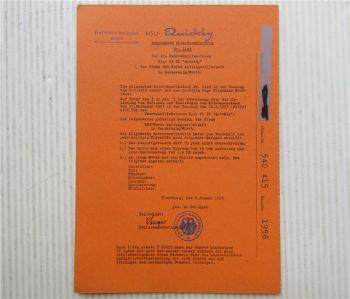 NSU Quickly Hilfsmotor Betriebserlaubnis ABE 1149 ohne Besitzereintragung 1956