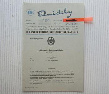 NSU Quickly Fahrrad mit Motor Betriebserlaubnis ABE 1596 mit Besitzereintragung