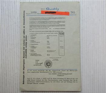 NSU Quickly Betriebserlaubnis ABE für Fahrräder mit Hilfsmotor 51ZT  09/1956