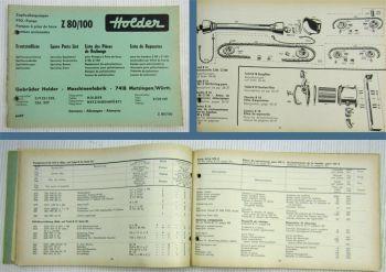 Holder Z80 Z100 Zapfwellenpumpe Ersatzteilliste 1964