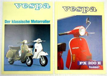 Piaggio Vespa PX200E Lusso PK80S P80X Roller 2 Prospekte Broschüren 1982/84