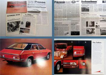 4x British Leyland Princess 2200 Prospekt Presseartikel 1970er Jahre