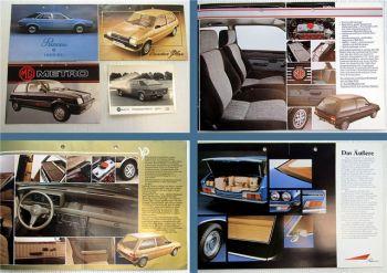4x Austin Princess 1800 MG Metro Vanden Plaas Prospekte Pressefoto 1980er Jahre