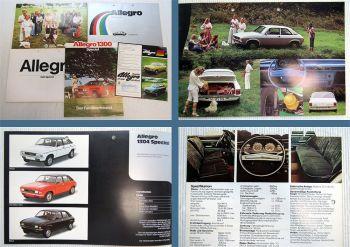5x Austin Allegro 1300 Special Prospekte Farbkarte 1970er Jahre