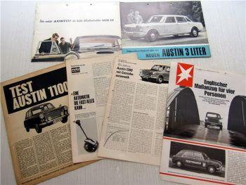 6x Austin 1100 1300 Prospekte Presseartikel 1960er Jahre