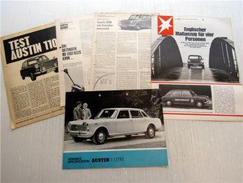5x Austin 1100 1300 Prospekt Presseartikel Motorrundschau 1960er Jahre