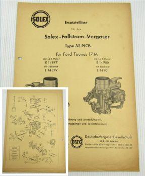 Solex 32 PICB Fallstrom Vergaser Ersatzteilliste Ford Taunus 17M / Saxomat
