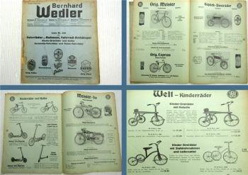 Bernhard Wedler Fahrräder Rahmen Dreiräder Roller Motor-Fahrräder Katalog 1939