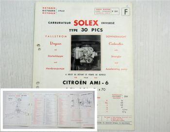 Solex 30 PICS Vergaser Beschreibung + Ersatzteilliste Citroen AMI 6 3CV