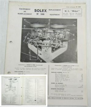Solex 32 PBIC Carburettor Carburateur Parts List Instructions MG Midget TD