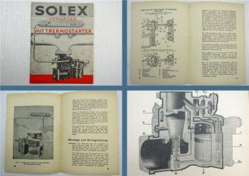Solex Vergaser mit Thermostarter Betriebsanleitung Bedienungsanleitung 1940/50