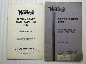 Norton Model 7 Dominator Twin 1949 - 1950 Spare Parts List + Supplement