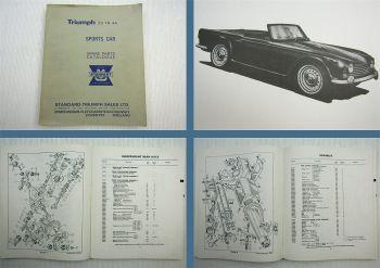Triumph TR4A Sports Car Roadster Parts List Parts Catalogue Ersatzteilliste 1965
