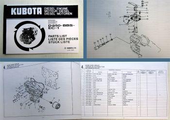 Ersatzteilkatalog Kubota D850 BBS EC-1 Ersatzteilliste Parts List