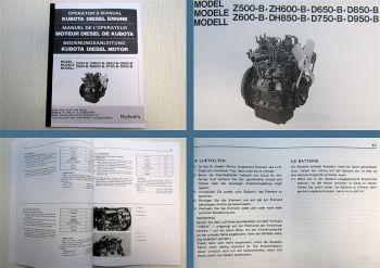 Bedienungsanleitung Kubota Z/ZH 500-B 600-B D/DH850-B D650-B 750-B 950-B