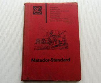 Claas Matador Standard Mähdrescher Ersatzteilliste Ersatzteilkatalog 07/1963