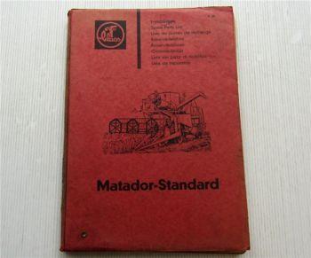 Claas Matador Standard Mähdrescher Ersatzteilliste Ersatzteilkatalog 03/1963