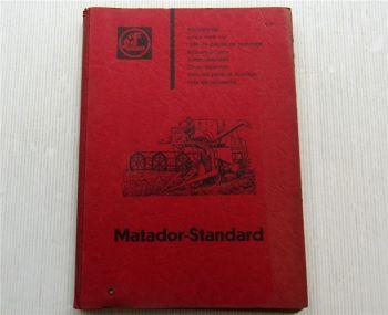 Claas Matador Standard Mähdrescher Ersatzteilliste Ersatzteilkatalog April 1964