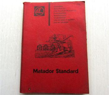Claas Matador Standard Mähdrescher Ersatzteilliste Ersatzteilkatalog 1965