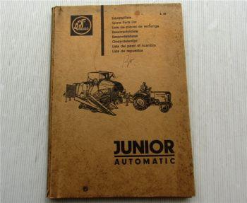 Claas Junior Automatic Mähdrescher Ersatzteilliste Ersatzteilkatalog 02/1965