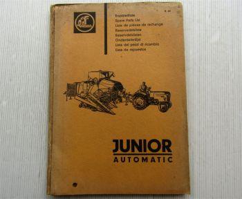 Claas Junior Automatic Mähdrescher Ersatzteilliste Ersatzteilkatalog 08/1964
