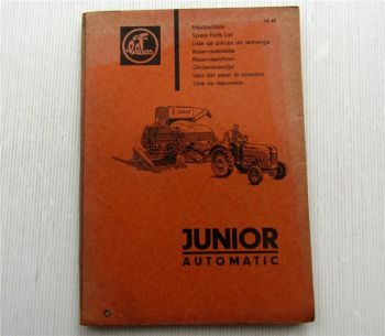 Claas Junior Automatic Mähdrescher Ersatzteilliste Ersatzteilkatalog 12/1962