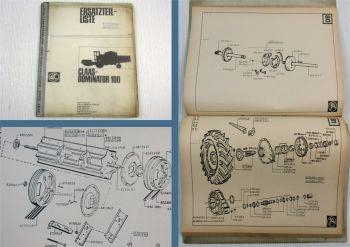Claas Dominator 100 Mähdrescher Ersatzteil-Bildkatalog Ersatzteilliste 07/1973