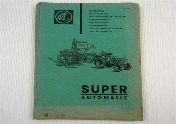 Claas Super Automatic Mähdrescher Ersatzteilliste Ersatzteilkatalog April 1963