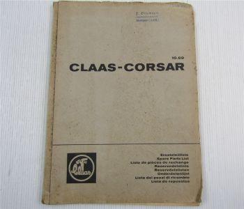 Claas Corsar Mähdrescher Ersatzteil-Bildkatalog Ersatzteilliste 10/1969