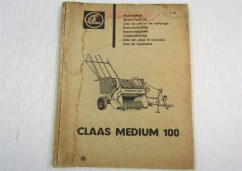 Claas Medium 100  Mähdrescher Ersatzteilliste Ersatzteilkatalog 07/1964