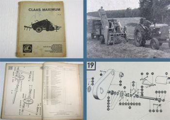 Claas Maximum  Mähdrescher Ersatzteilliste Ersatzteilkatalog 10/1966