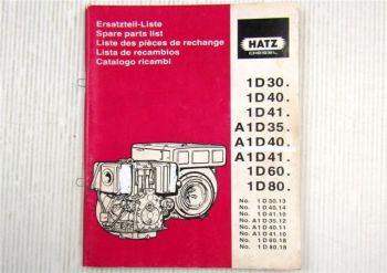 Hatz 1D A1D 30 35 40 41 60 80 Dieselmotor Ersatzteilliste Bildkatalog Parts List