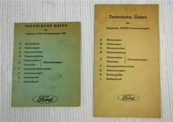 2x Ford England Personenwagen Technische Daten von 1966 und 1969