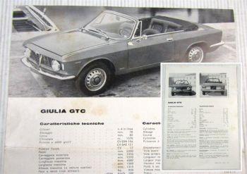 Alfa Romeo Giulia GTC Technische Daten Datenblatt Technical Features 07/1965