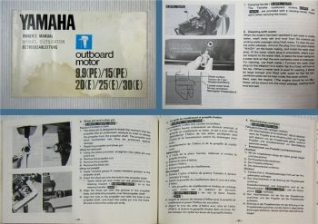 Yamaha 9.9 15 PE 20 25 30 E Bootmotor Betriebanleitung Owners Manual 1980