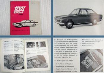 Fiat 124 Sport Coupe PKW Betriebsanleitung Bedienungsanleitung 1967