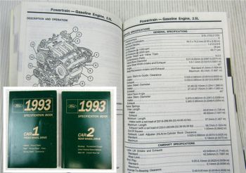 Ford 1993 Specifications Book Crown Victoria Grand Marquis Continental Mark VIII