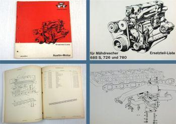 Massey Ferguson Austin Motor für Mähdrescher MF685S 726 780 Ersatzteilliste 1963