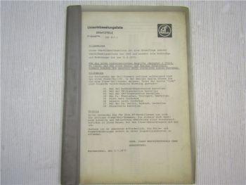 Claas Umschlüsselungsliste Ersatzteile Verzeichnis 1973