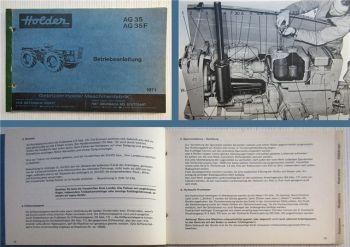 Holder AG35 AG35F Betriebsanleitung Bedienungsanleitung 1971