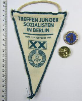 Abzeichen Wimpel DDR Berlin FDJ Deutschlandtreffen der Jugend 1969