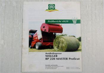 Welger RP220 Master Proficut Rundballenpresse Prüfbericht 4929 Ausgabe 04/2001