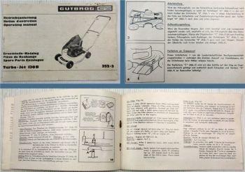 Gutbrod Turbo-Jet 130B Rasenmäher Betriebsanleitung Ersatzteilliste Parts List