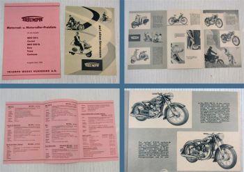 Prospekt Preisliste Triumph tessy Boss Contessa Cornet BDG125L BDG250SL 1956
