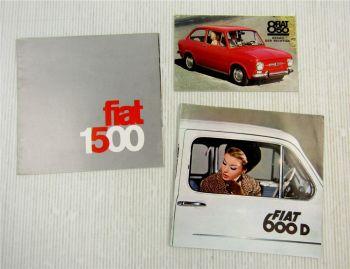 3 Prospekte Fiat 600 850 1500 aus den 60er Jahren