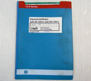 Werkstatthandbuch Audi 100 200 Typ 44 C3 2E2 Vergaser TSZ-H Zündanlage DS